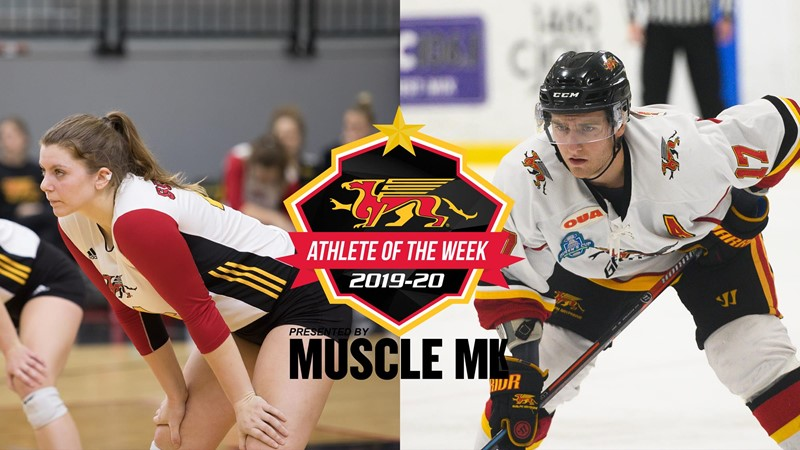 Jade Ziebarth (Women's Volleyball) and Marc Stevens (Men's Hockey) Named Gryphon MUSCLE MLK Athletes of the Week